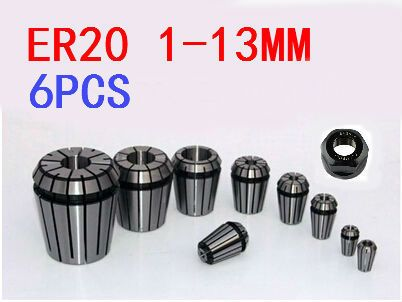 Free Shipping 6PCS for Choose ER ER20 Collet Chuck for Spindle Motor Engraving/Grinding/Milling/Boring/Drilling/Tapping