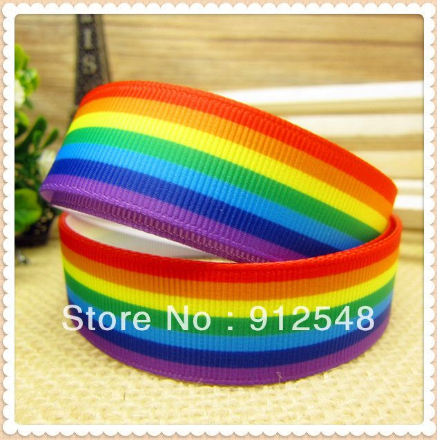 wholesale Rainbow stripes printed grosgrain ribbon hairbow diy party decoration,1 yards,7/8''(22mm),free shipping,MDTW1