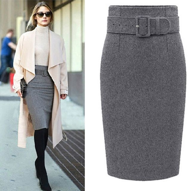 Women Autumn Winter Style Fashion Knee Length Skirt Ladies New Arrival Front Sashes Pencil Skirts Femme Female 50