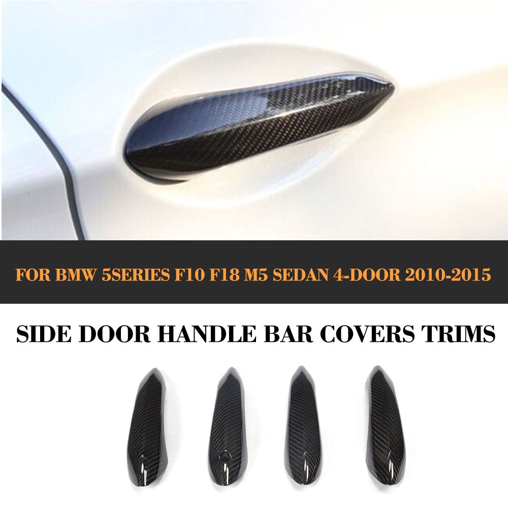 Carbon Fiber Door Handle Bar Trim Covers For BMW F10 M5 LHD Only 2010-2015 Without LED 4pcs Car Accessories
