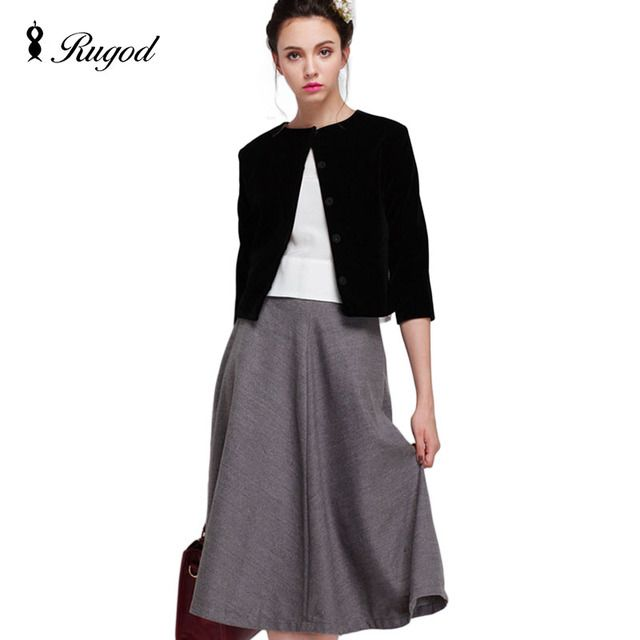 3 Piece Set Women Suit 2017 European and American New Slim round neck fifth sleeve Black Tops + Retro Fashion Gray Skirt