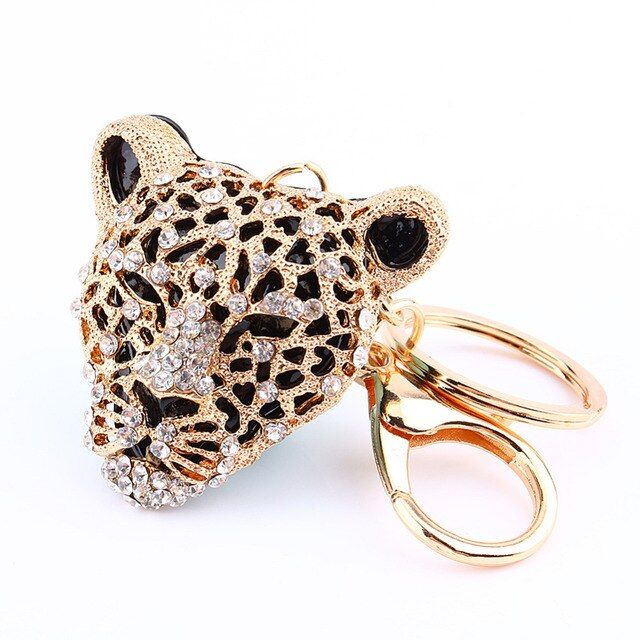 Animal Panther Leopard Rhinestone Keyring Charm Pendant Purse Bag Key Ring Chain Keychain Gift