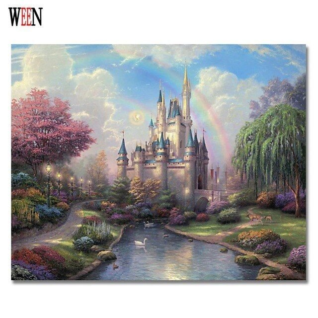 WEEN Dream Castle Painting Pictures By Numbers On Canvas DIY Handpainted Gift Coloring By numbers Home Wall Artwork No Frame