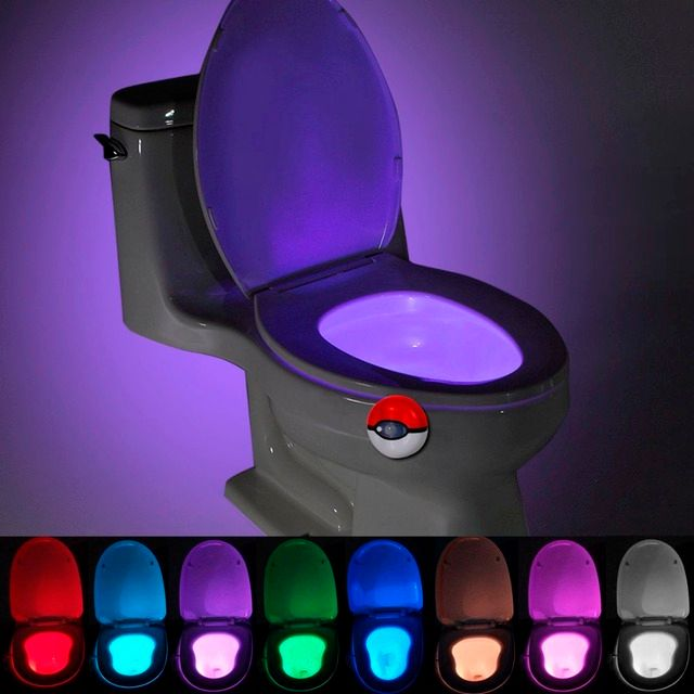 LED Toilet Sensor Night Lights 7 Color Changable Human Motion Sensor Automatic Light Bowl Seat Bathroom Emergency Lighting