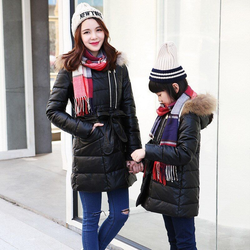 Family Matching Outfits 2016 Winter Mother and Daughter Hoodies Down with Faux Fur Cap Coat White Duck Long Parka Girl PU Jacket