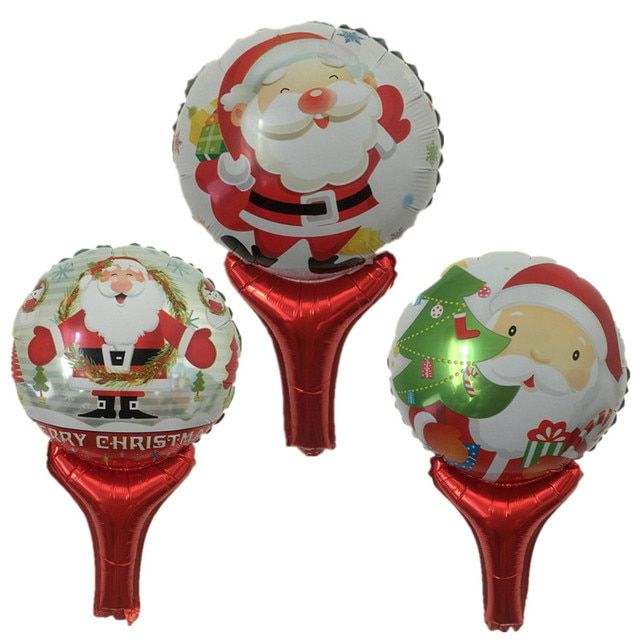 BINGTIAN 1pcs new handheld Santa Claus cartoon aluminum balloons birthday party decoration balloon toy wholesale Christmas