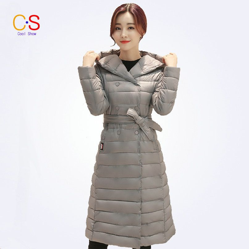Women Coat With Tied Waist Fashion Winter Ladies Long Hooded Jackets Female Thick Outerwears Jackets