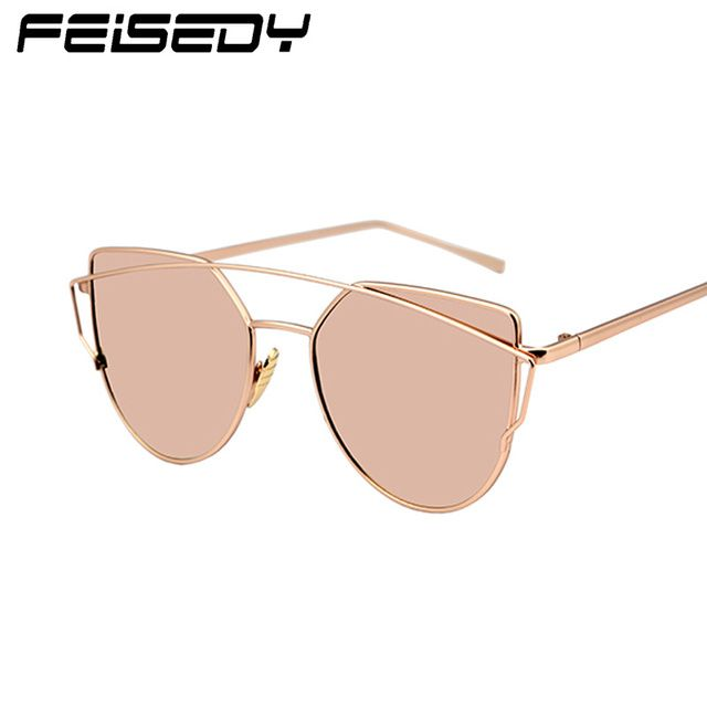 FEISEDY Fashion Cat Eye Sunglasses Women Brand Designer Metal Reflective Mirror Sun Glasses For Women Twin-Beams Glasses Gafas