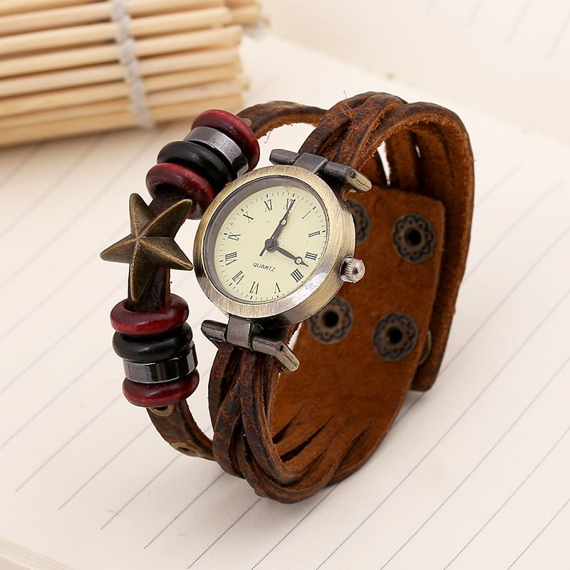 Gnova NEW Vintage Women Genuine Leather Watch Fashion Lady Female Wrap Quartz Wristwatch Bracelet Dropship B040