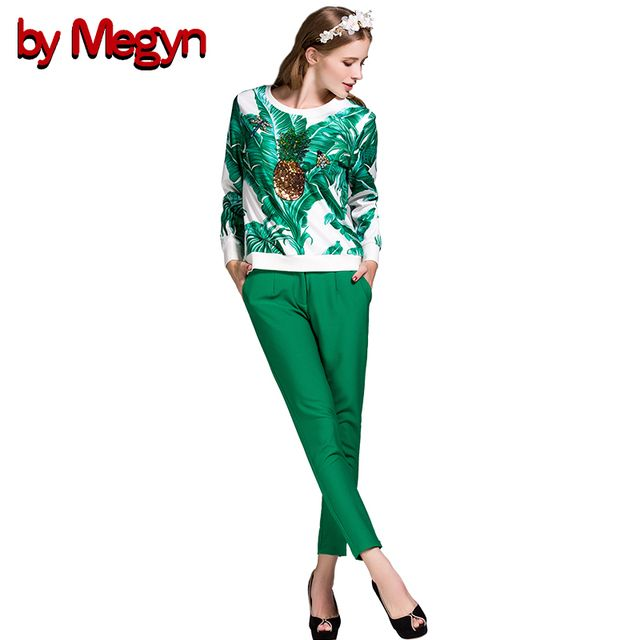 2017 Autumn Winter Women Sets Beading Pineapple Leaves Print Tops Pullover + Green Pencil Pant 2 Pieces Suit Sets DG170