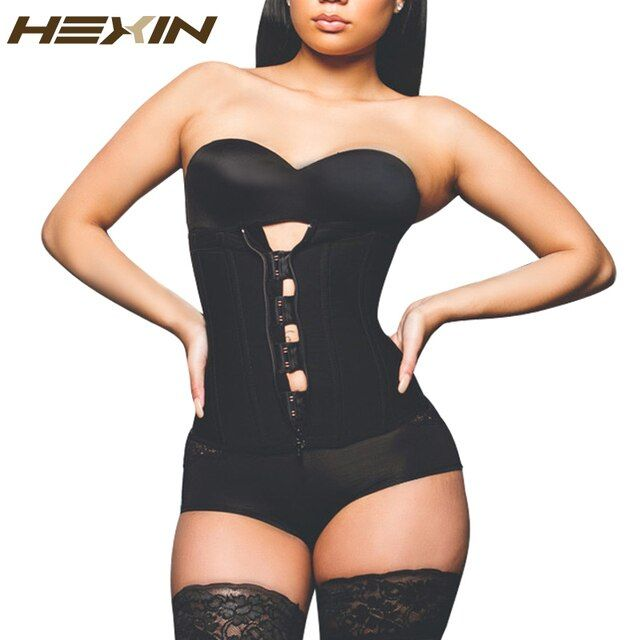 HEXIN Clip and Zip Latex Waist Trainer Black ,Nude Waist Cincher Women Hot Body Shapers Waist Trainer Corsets Slimming Shapwear