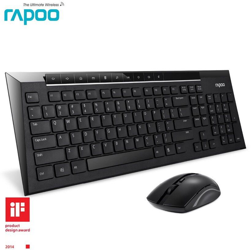 Rapoo 8200P Mute Slim Multimedia Wireless Keyboard and Mouse Combos for Windows Desktops Laptops Computer TV PC Video Gaming