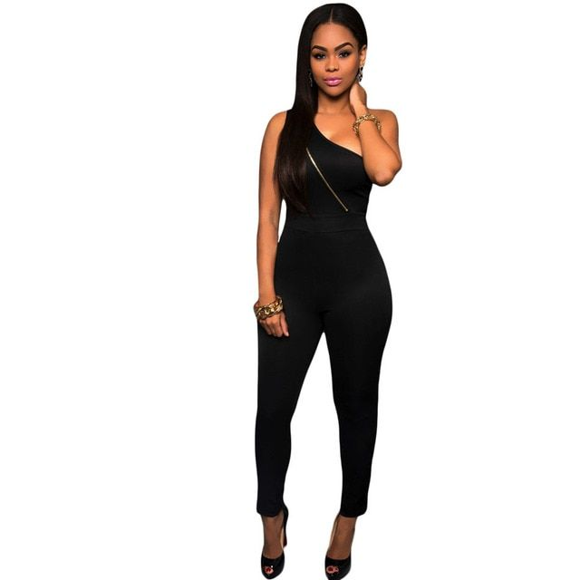 2016 Summer Elegant Womens Rompers Jumpsuit Casual Solid Bodysuit Sleeveless One Shoulder Long Playsuits Sexy Skinny Overalls XS