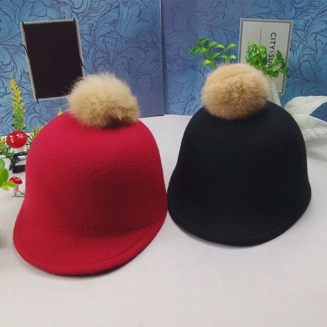 Autumn and winter hat female rabbit ball women fashion wool cap Knight Riding Hat with pompon ball