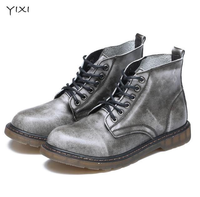 Big Size Genuine Leather Men Boots Brown Black Vintage Autumn Men Shoes Handmade Ankle Men Doc Dr Shoes High Quality Martins