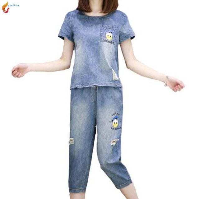 JQNZHNL 2017 New Spring Summer Women Set Fashion Short sleeve Tops Denim 7 minutes pants Loose Plus size 5XL 2pcs suit sets G45