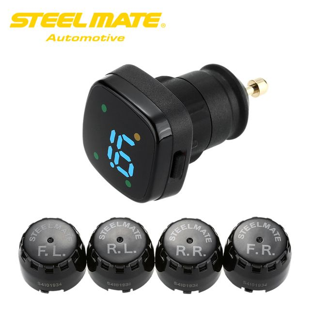 Steelmate TPMS TP-76 Tire Pressure Monitoring System Car Alarm Kit LED Cigarette Lighter 4 External Sensors Car Diagnostic Tool