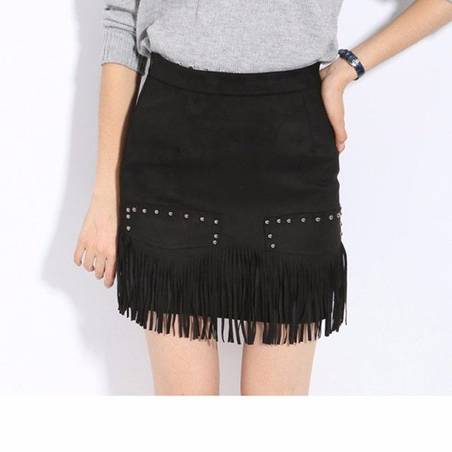 2016 autumn and winter new high waist suede skirt zipper bodycon pencil mini fake leather edge tassel asymmetric A word skirt