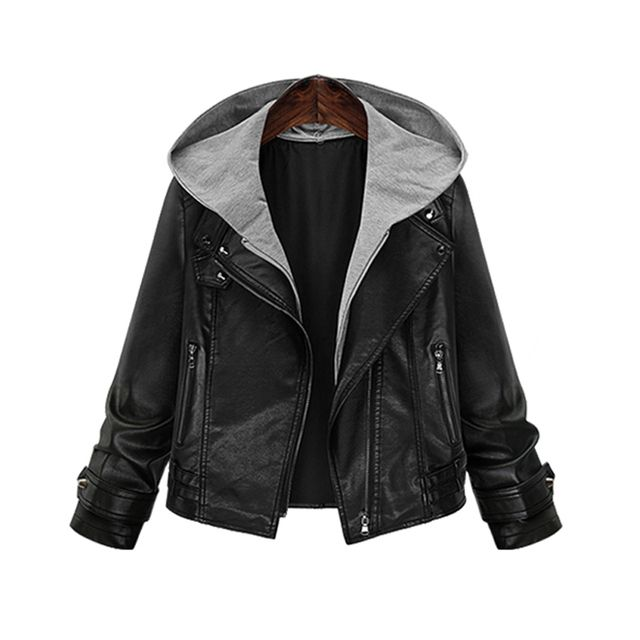 Hooded Leather Jacket Wagon Short coats Fat MM large size ladies hooded zipper Slim thin motorcycle hoodies windbreaker jacket