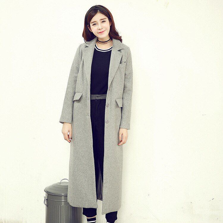 Fashion Winter Womens Wide Waisted Extra Long Wool Overcoat Trench Coat Ladies Slim Outwear Street Wear Parka Coats Black Gray