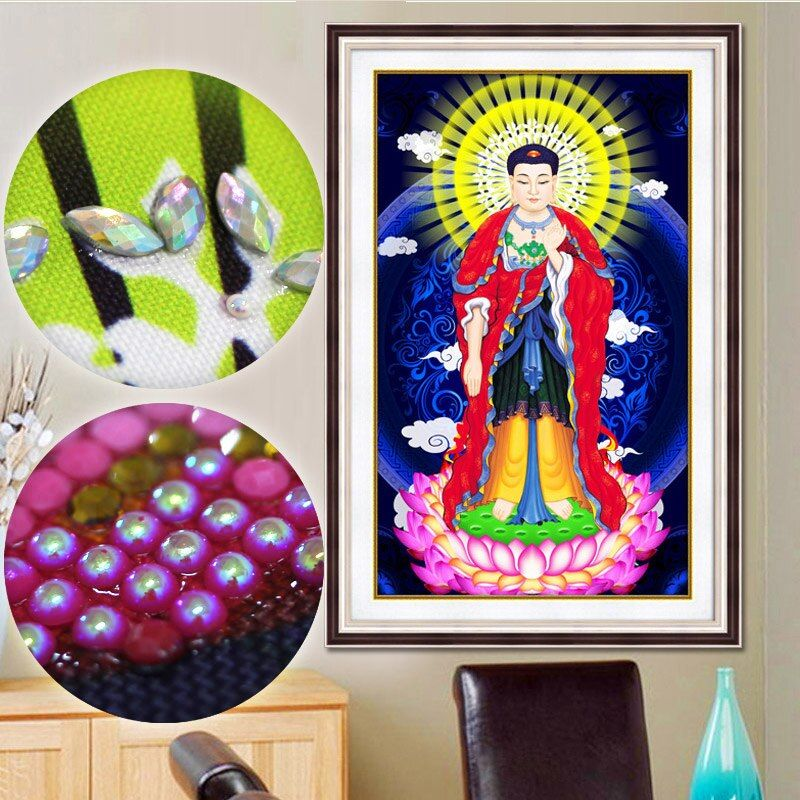 "special shaped diamond painting embroidery beaded 5D diamante stickers muraux decoration""Temple under sun shine""Buddha religion"