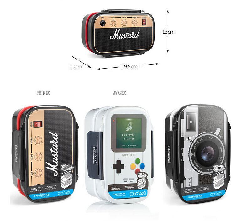 Plastic Double Layer Lunch Boxs Bento Box Microwavable LunchBox Set Office School Gamebox Camera Radio Salmon