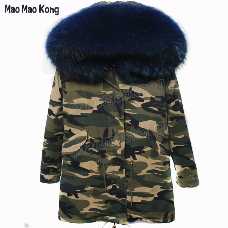 MaoMaoKong long camouflage Parkas Fur Women Winter Coat natural real fur Collar Thick Jacket Outerwear Female Snow Wear Brand