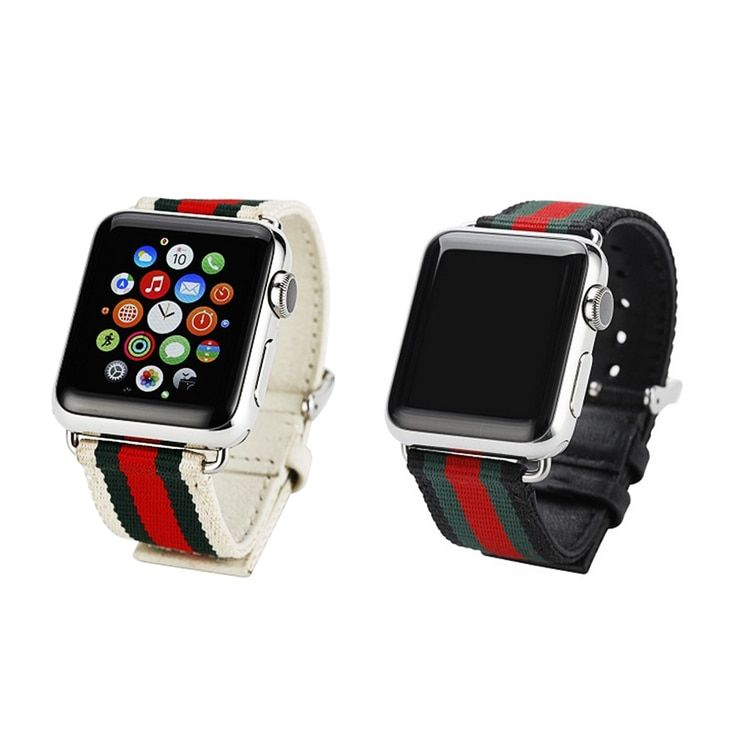 Sport Wristwatch Replacement Strap for Apple Watch 38mm/42mm Woven Canvas Casual Genuine Leather Watch Band