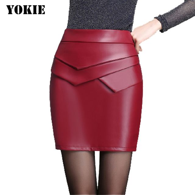 Autumn Winter Women's Leather Skirts Slim Hips High Waist Sexy Leather Skirt Women Sexy mini Pencil Skirt Big size S-XXL