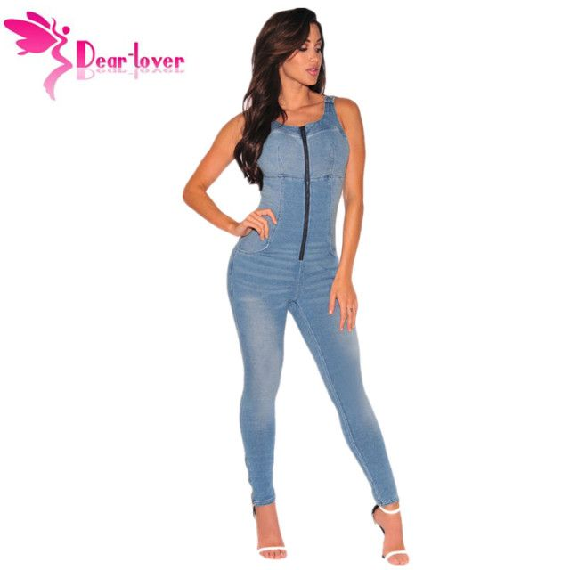 Dear Lover Denim Overalls for Women Jeans Rompers Sleeveless Stretch Zipper Jumpsuit Long Pants Female Slim Suspenders LC64108