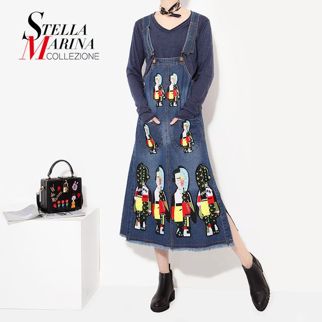 2016 Autumn Winter Women Denim Suspenders Long Skirt Cartoon Embroidery Shoulder Straps Pocket Split Female Blue Jean Skirt 1738