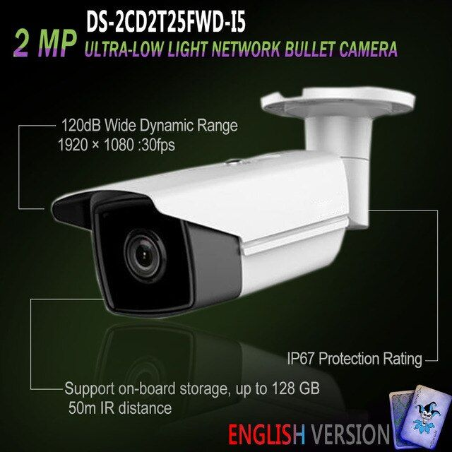 Hikvision Free Shipping DS-2CD2T25FWD-I8 New English Oversea Version IP housing 2MP Ultra-Low Light Network Bullet POE Camera