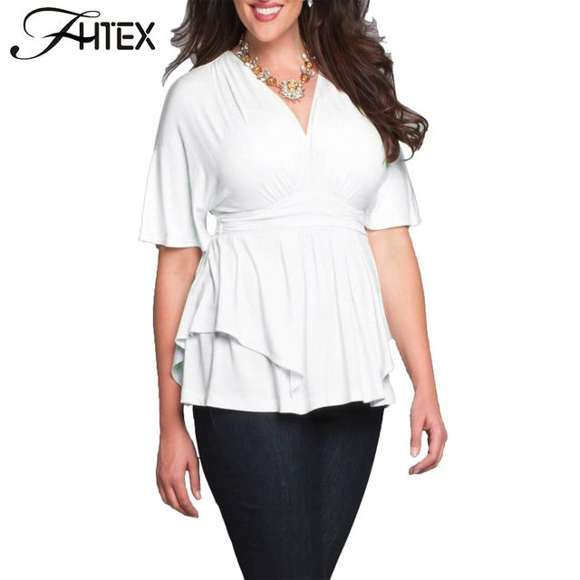 Plus Size T Shirt Women Fashion Elegant Solid Color V Neck Tunic Ruched Casual Slim Big Size Shirts Tops 6XL 5XL T Shirt