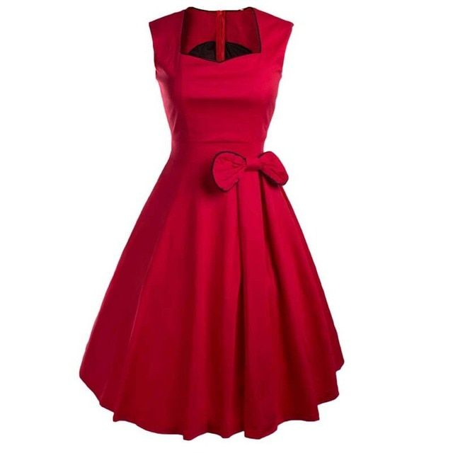 Vestidos Women Summer Dress Vintage Retro Party Robe Rockabilly 50s Classic Pleated Bow Dresses New Womens Clothing