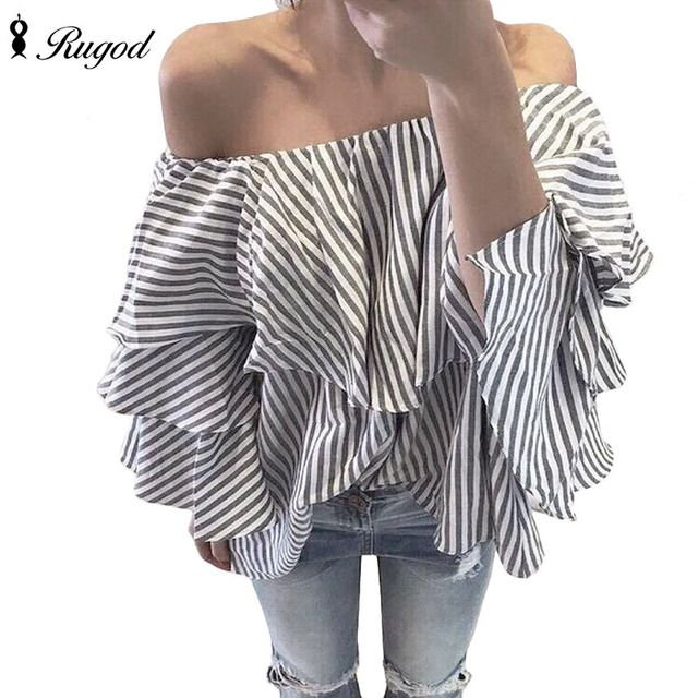 New 2016 autumn sexy  women off shoulder blouse  plus sizes Striped flounced sleeves cotton made good quality  blusas femininas