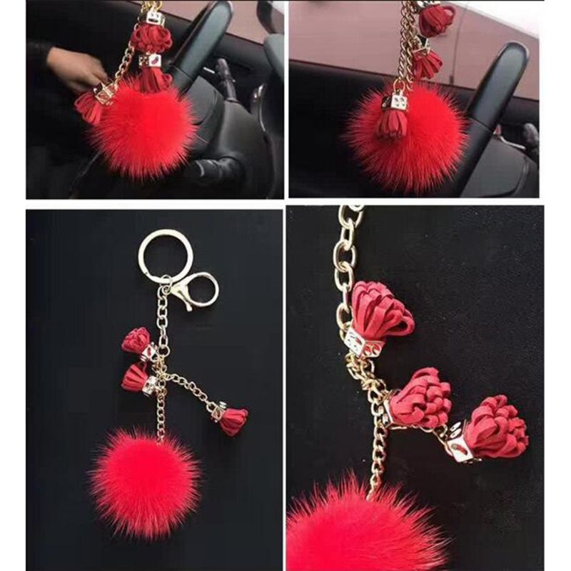 Genuine Mink fur Keychain fashion Soft Fur  tassel ball  Pom pon Silver Key ring bag Pendant gift car pendant bunny