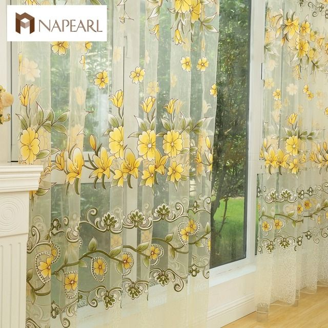 NAPEARL Fashion design modern transparent tulle curtains window treatments living room children bedroom colorful yellow sheer