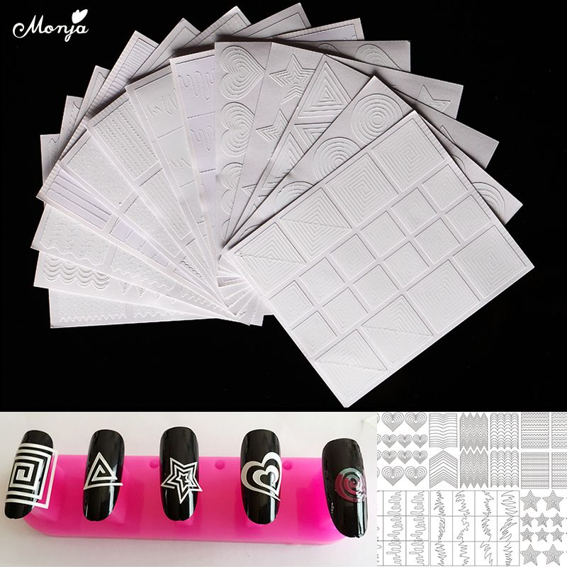 Monja 12 Style Nail Art Hollow Stencil Guide Sticker Gel Polish French Smile 3D Image Foil Transfer Strip Template Form Decals