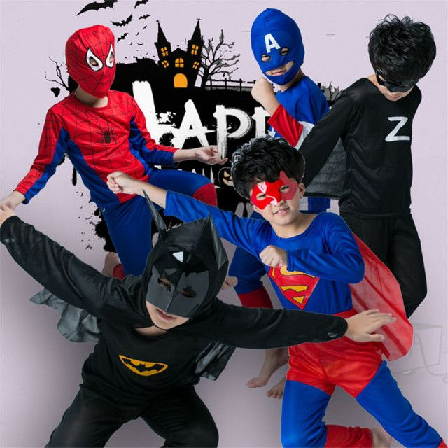 Halloween Superhero Cosplay Costume For Kids Spiderman Superman Batman Captain America Zorro Altman Costume Child Part Wear