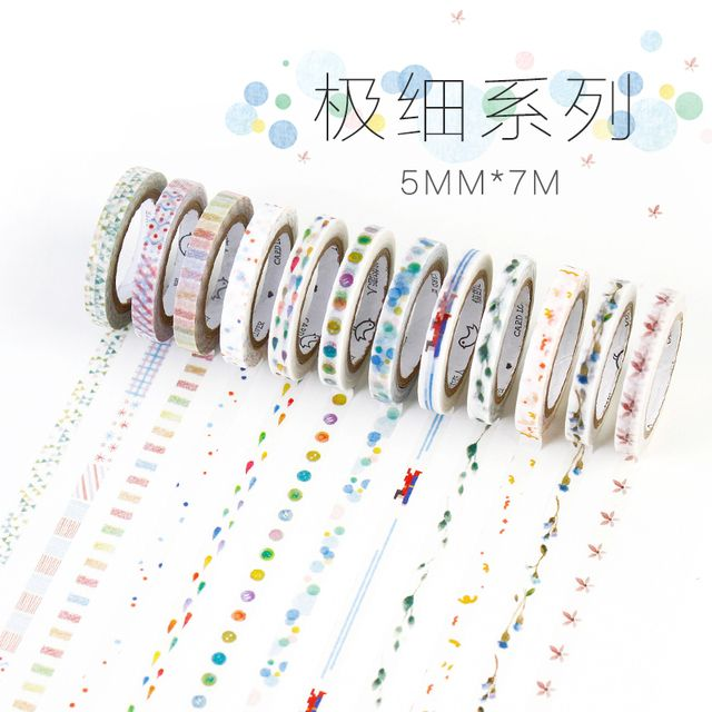 DIY Dividing Line 5mm*7m Slim Washi Tape Office Adhesive Tape DIY Decorative Border Scrapbooking Diary Sticker Masking Tape