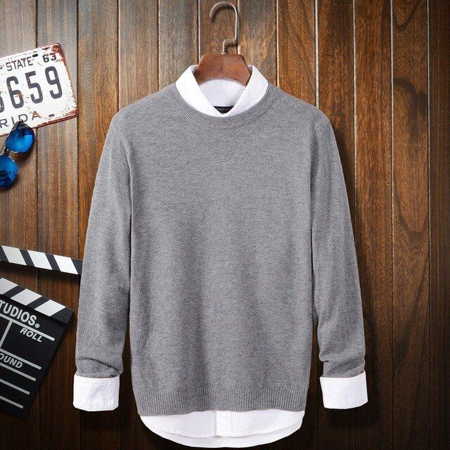 Real Hot Sale Man Pullover Good Quality Autumn 2016 Wholesale Simple Solid Color Long Sleeve Round Neck Youth Men's Sweater