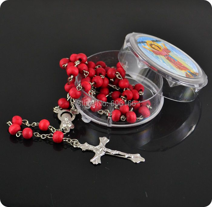 12x Mix Color rose scented perfume wood Rosary Beads INRI JESUS Cross Pendant Necklace Catholic Fashion Religious jewelry