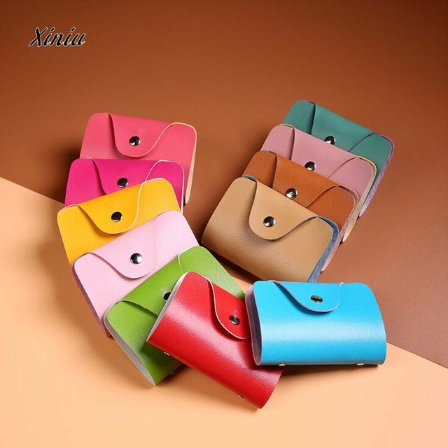 Business Credit Card Wallet Holder Bags Men Women PU Leather Buckle Bank Card Bag 24 ID Card Cover Bank Multi-functional Cover