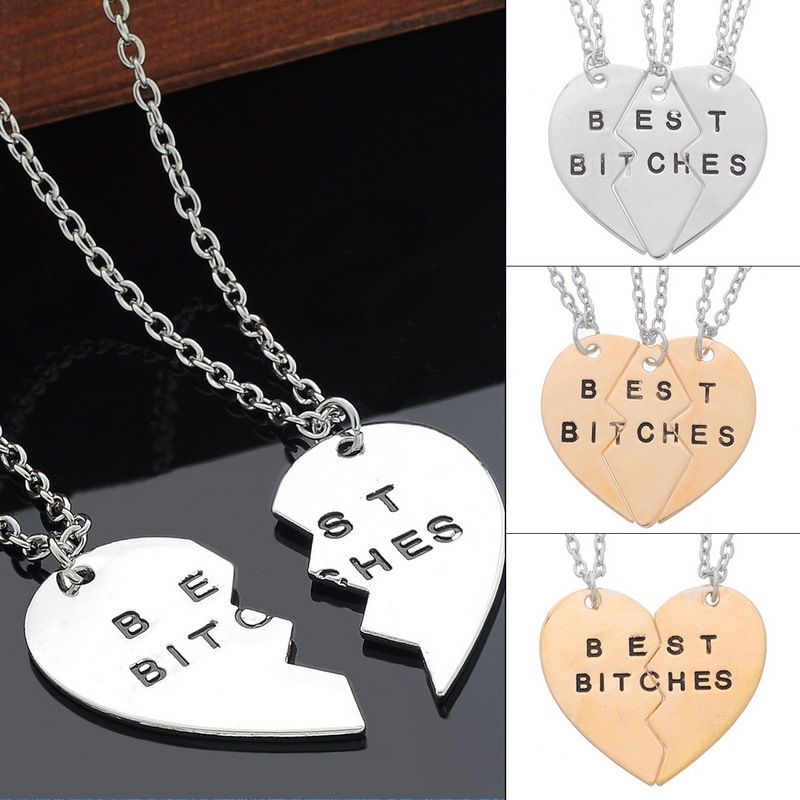 1Set BEST BITCHES Best Friends Forever BFF Valentine Heart Pendant Necklaces