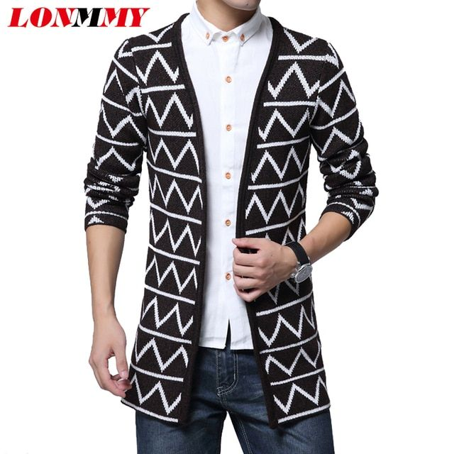 LONMMY L-4XL Sweater men Cotton blend High-quality Plaid stripes Knitted cardigan men Christmas sweater cardigans men 2016Winter