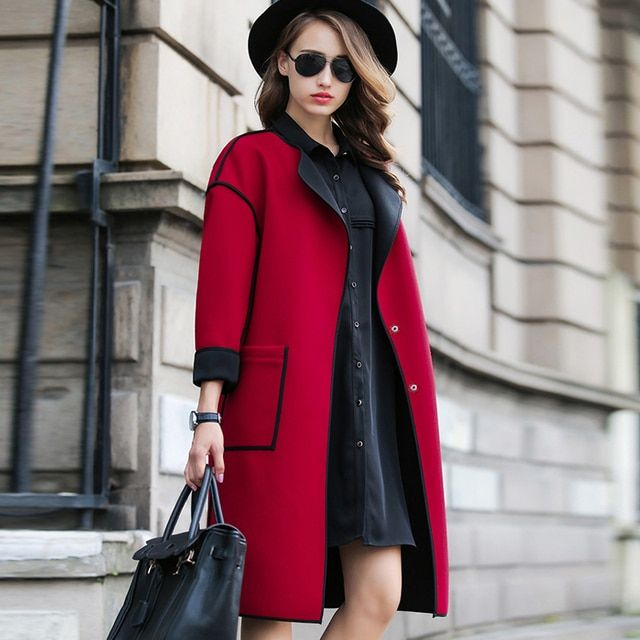 Hot 2016 Coats Female Autumn Winter Jacket Women's New Fashion Long Sleeved Wool Woolen Coats Thin With High Quality 7653