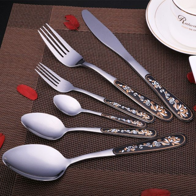 Keythemelife Hot Exquisite Flowers Stainless Steel Spoon Fork Knife (Not 1 Set)Tableware Coffee Ice Cream Spoons High Quality D3