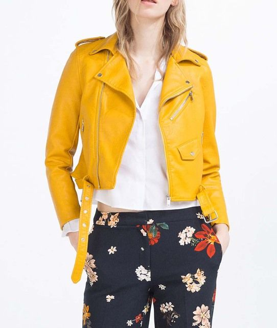 VogaIn NEW Spring 2016 Brand Women Mustard Short Faux Leather Motorcycle Cropped Biker jackets Hem belted Zips details Epaulets