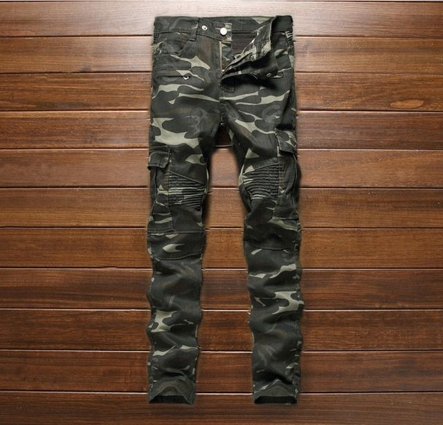 European American style Men's jeans army green denim trousers camouflage jeans luxury brand Slim Straight Military jeans for men