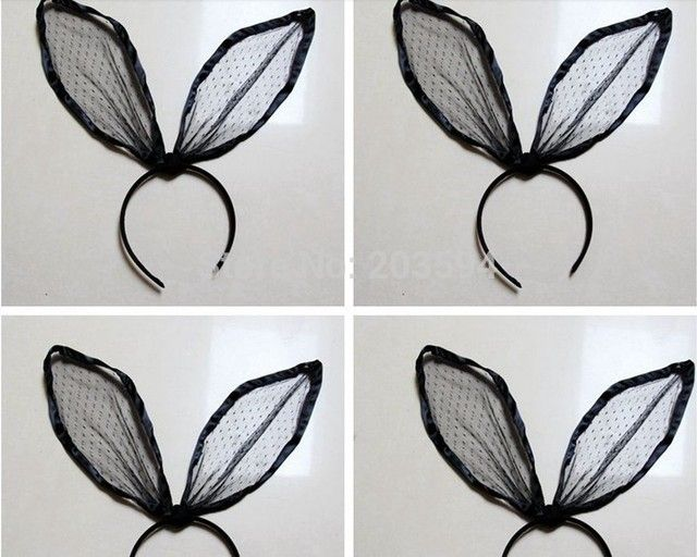 12Pcs Sexy  Euramerican style gauze lace hair wholesale Bunny exaggeration change big lace rabbit ear hairband head hoop